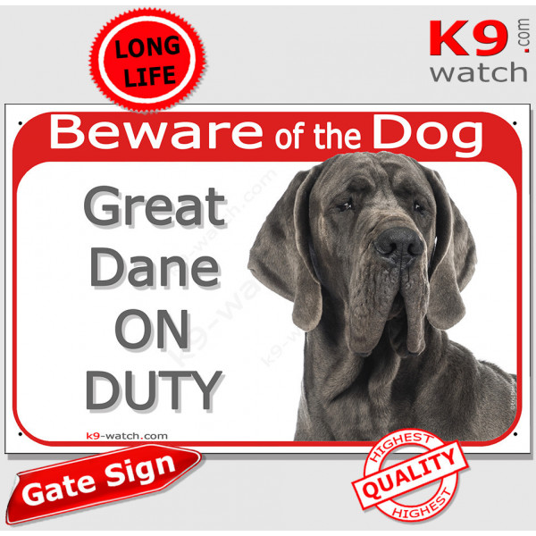 """Red Portal Sign """"Beware of the Dog, grey blue Great Dane on duty"""" 24 cm, gate plate notice dog photo"""