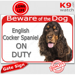 """Liver brown and Tan Portal Sign """"Beware of the Dog, red English Cocker Spaniel on duty"""" gate plate placard panel photo notice"""
