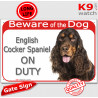 """Red Portal Sign """"Beware of the Dog, English Cocker on duty"""" 24 cm"""