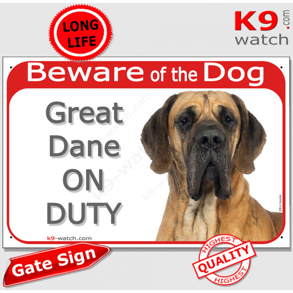 """Red Portal Sign """"Beware of the Dog, brown fawn Great Dane on duty"""" 24 cm, gate plate notice dog photo"""