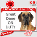 """Red Portal Sign """"Beware of the Dog, Great Dane on duty"""" 24 cm"""