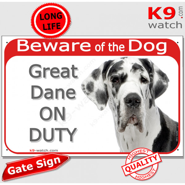 """Red Portal Sign """"Beware of the Dog, white and black Harlequin Great Dane on duty"""" 24 cm, gate plate notice dog photo"""