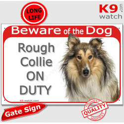 """Red Portal Sign """"Beware of the Dog, Rough Collie on duty"""" Gate plate english Scottish Lassie dog photo notice"""