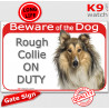"""Red Portal Sign """"Beware of the Dog, Rough Collie on duty"""" 24 cm"""