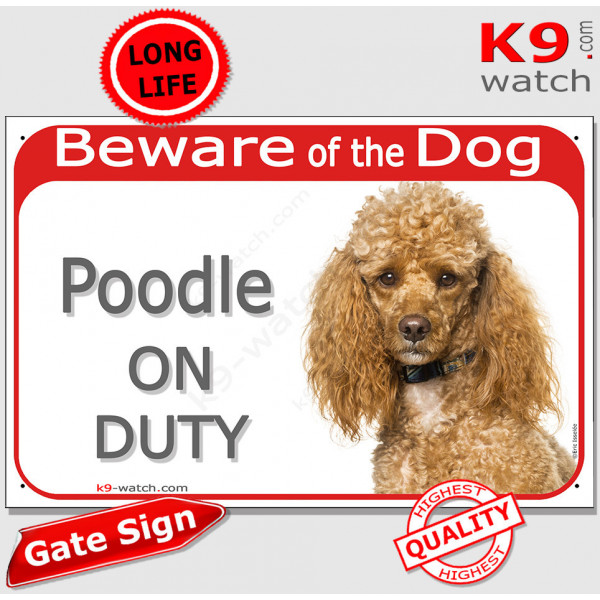 """Red Portal Sign """"Beware of the Dog, Apricot Poodle on duty"""" gate plate placard photo notice plaque"""