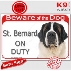 "Red Portal Sign ""Beware of the Dog, St. Bernard on duty"" 24 cm, Gate plate photo notice Bernhardiner"