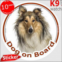 """tri-sable & white Rough Collie, car circle sticker """"Dog on board"""" decal label photo adhesive notice"""