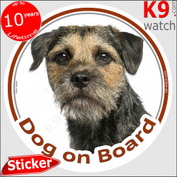 """Border Terrier Head, circle sticker """"Dog on board"""" decal adhesive car label photo notice"""