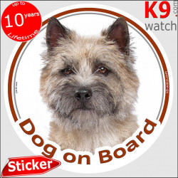 """Cairn Terrier Head, circle sticker """"Dog on board"""" decal adhesive car label photo notice"""