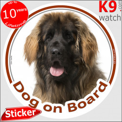 """Leonberger Head circle sticker """"Dog on board"""" Decal label adhesive car Leo photo notice"""