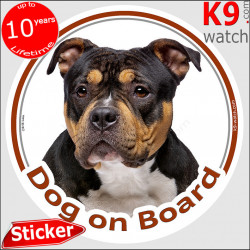 """black and tan American Bully, circle sticker """"Dog on board"""" decal label adhesive photo notice"""
