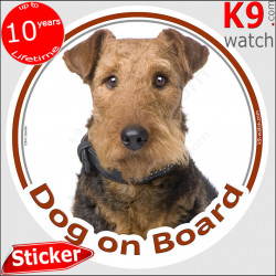 """Airedale Terrier, car circle sticker """"Dog on board"""" Decal label photo adhesive notice Bingley Waterside Terrier"""