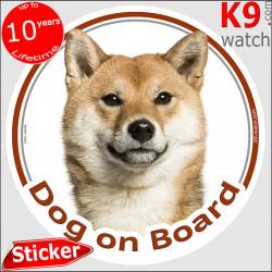 "Fawn orange Japanese Shiba Inu, car circle sticker ""Dog on board"" decal adhesive photo notice label"